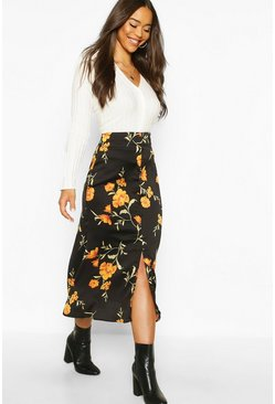 Womens Black Button Front Floral Midi Skirt