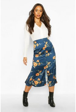 Womens Teal Button Front Floral Midi Skirt