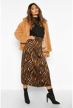 Womens Camel Tiger Full Woven Midi Skirt