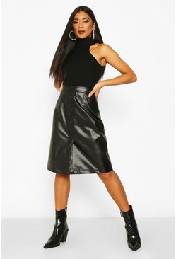 Womens Black Button Front Leather Look Midi Skirt