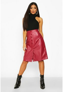 Burgundy Button Front Leather Look Midi Skirt