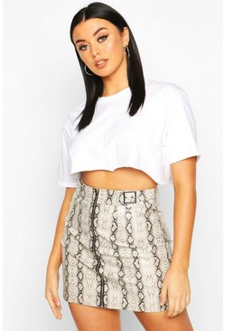Womens Grey Snake Leather Look A Line Mini Skirt