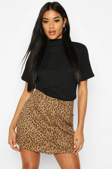 Womens Black Leopard Suede Button Through Mini Skirt