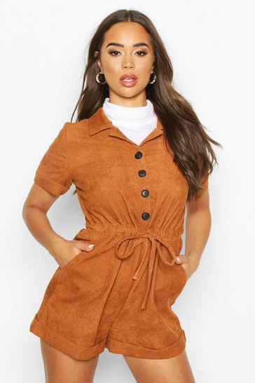 Womens Terracotta Baby Cord Button Front Playsuit