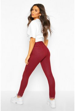 Womens Berry Basic Jegging With Pocket Back And Turn Up
