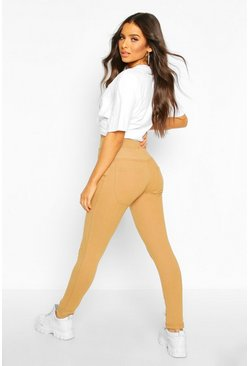Womens Camel Bum Lifting Pocket Basic Jeggings