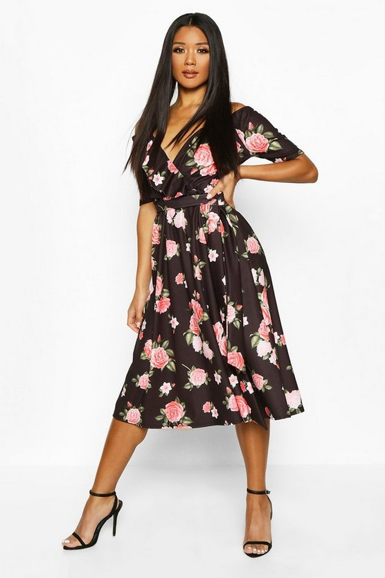 Womens Black Rose Print Cold Shoulder Ruffle Midi Dress