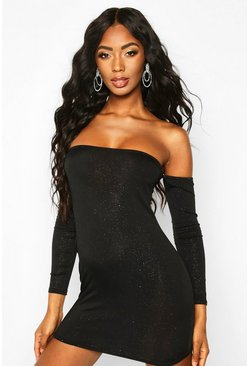 Womens Black Glitter Off The Shoulder Long Sleeve Mini Dress