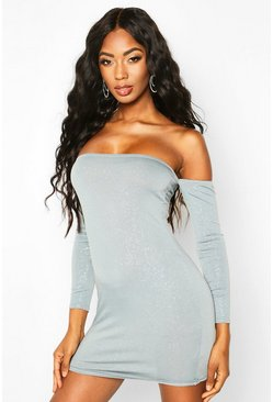 Womens Ice Glitter Off The Shoulder Long Sleeve Mini Dress