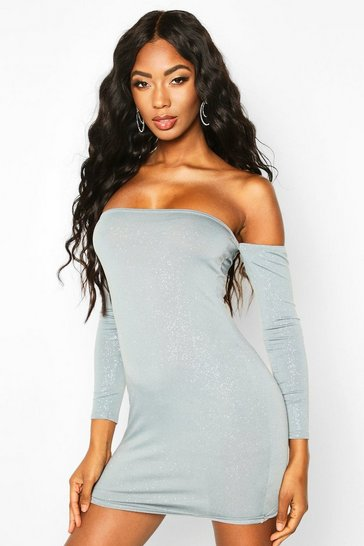 Ice Glitter Off The Shoulder Long Sleeve Mini Dress