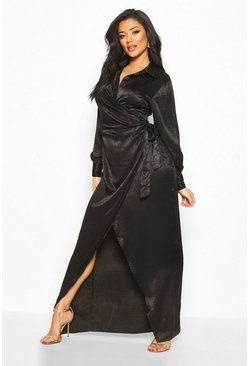 Black Hammered Satin Wrap Midaxi Shirt Dress
