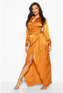 Caramel Hammered Satin Wrap Midaxi Shirt Dress