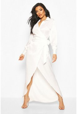 Hammered Satin Wrap Midaxi Shirt Dress, White