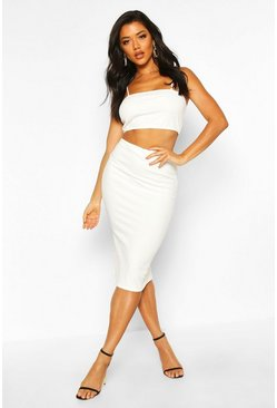 White Strappy Crop & Midi Skirt Co-Ord