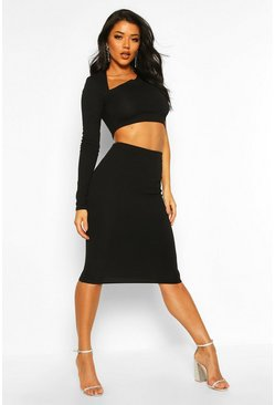 Black Asymetric One Shoulder Top And Midi Skirt Co-ord