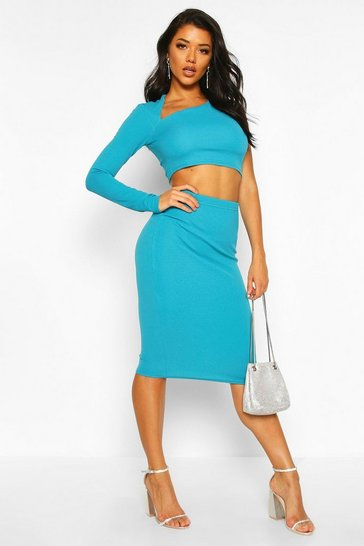 Jade Asymetric One Shoulder Top And Midi Skirt Co-ord