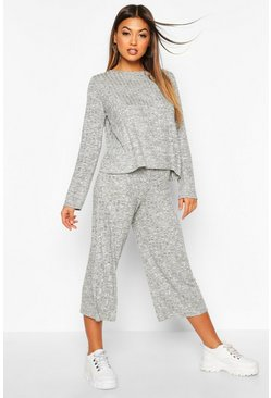 Womens Grey Oversized Long Sleeve Top Cullotes Co-ord