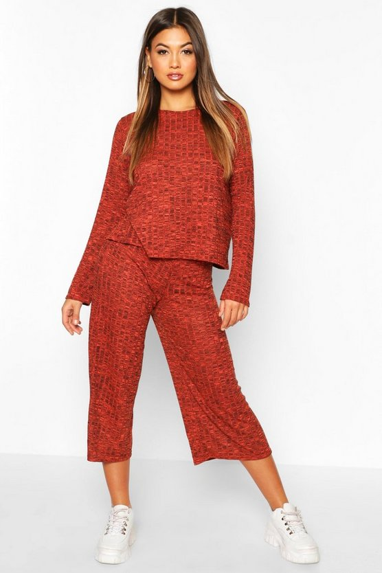 Oversized Long Sleeve Top Cullotes Co-ord