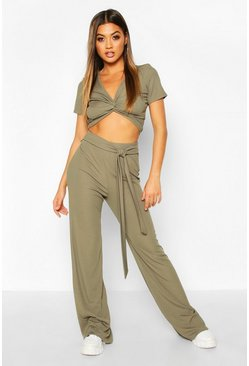 Womens Khaki Twist Front Rib Top And Belted Trouser Co-Ord