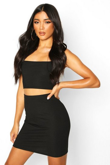 Womens Black Strappy Rib Crop Top & Mini Skirt Co-ord