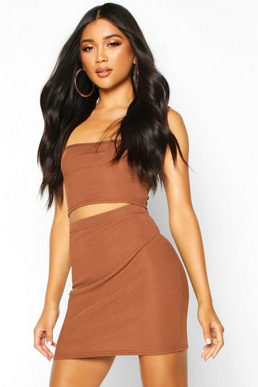 Chocolate Strappy Rib Crop Top & Mini Skirt Co-ord
