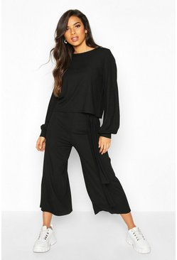 Womens Black Rib Long Sleeve Top & Tie Belt Culotte Co-ord