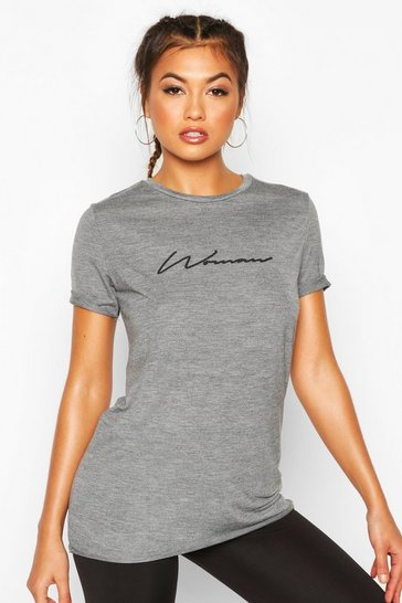 Womens Charcoal Fit Woman Slogan Gym T-shirt