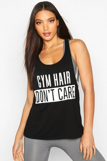 Womens Black Fit Gym Hair Don't Care Slogan Gym Vest