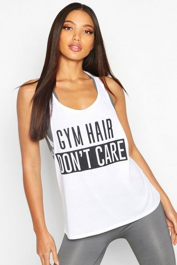 Womens White Fit Gym Hair Don't Care Slogan Gym Vest