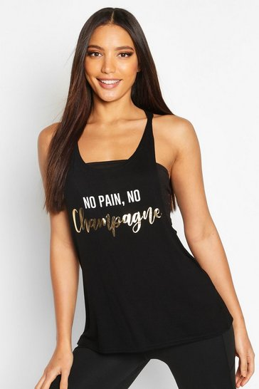 "Womens Black Fit """"No Pain No Champagne"""" Gym Vest"
