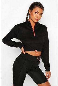 Fit Neon Zip Crop Hoody, Pink, Donna
