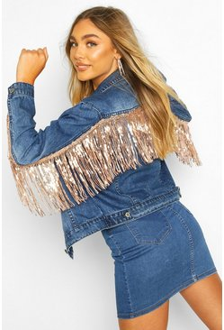 Mid blue Rhinestone Sequin Tassle Denim Jacket