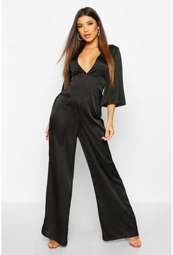 Womens Black Satin Ruched Wide Leg Jumpsuit