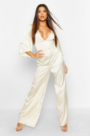 Ivory Satin Ruched Wide Leg Jumpsuit