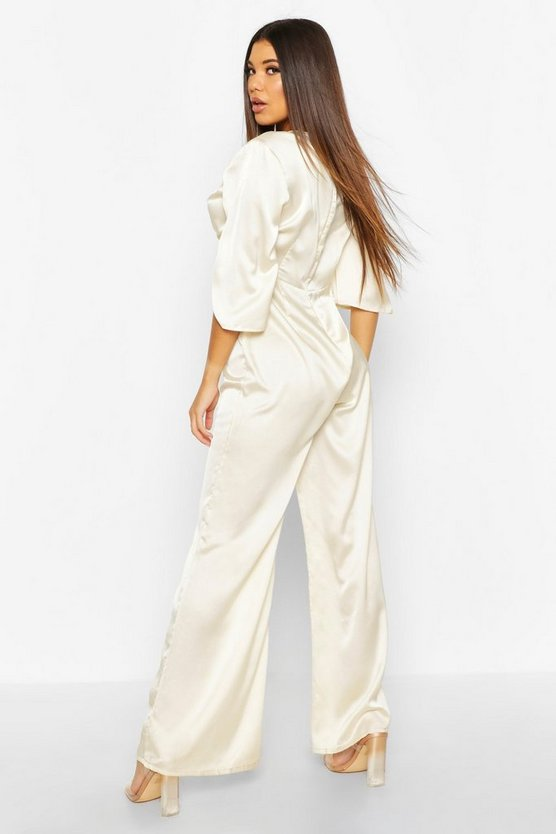 Satin Ruched Wide Leg Jumpsuit