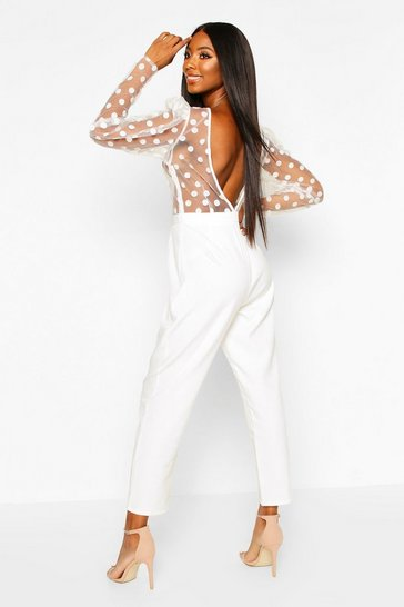 Womens White Organza Polka Dot Puff Sleeve Backless Jumpsuit