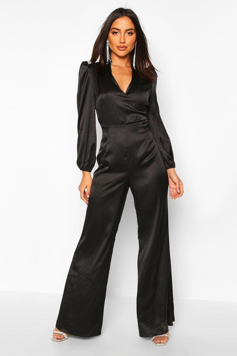70s Jumpsuit | Disco Jumpsuits – Sequin, Striped, Gold, White, Black Womens Ruched Sleeve Wrap Over Wide Leg Jumpsuit - black - 12 $58.00 AT vintagedancer.com