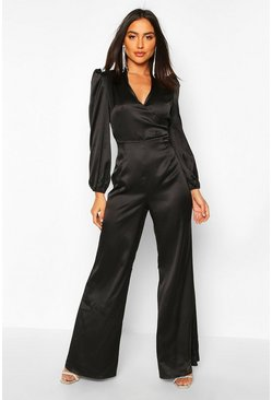 Ruched Sleeve Wrap Over Wide Leg Jumpsuit, Black