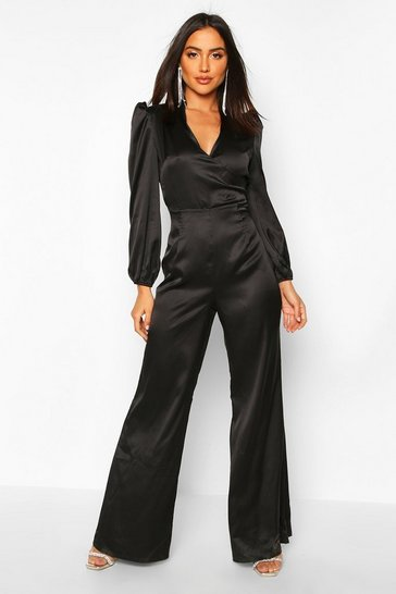 Black Ruched Sleeve Wrap Over Wide Leg Jumpsuit