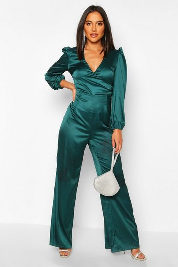 Womens Teal Ruched Sleeve Wrap Over Wide Leg Jumpsuit