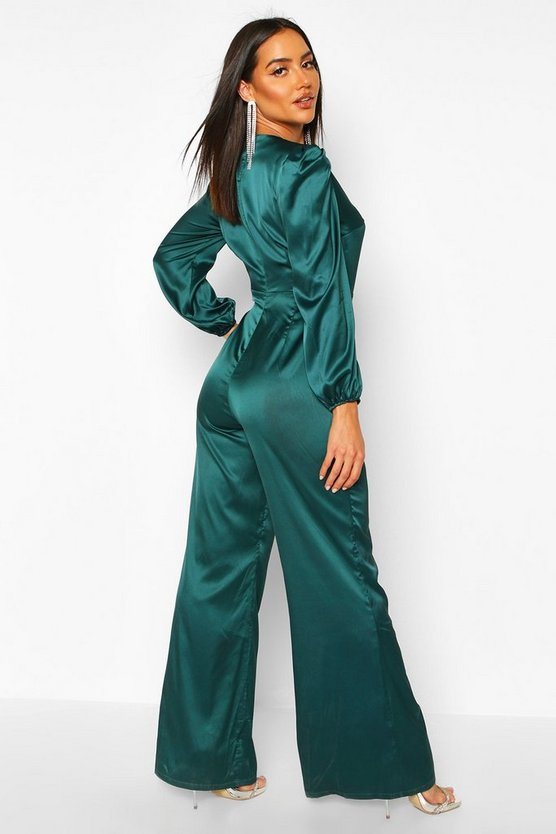 Ruched Sleeve Wrap Over Wide Leg Jumpsuit