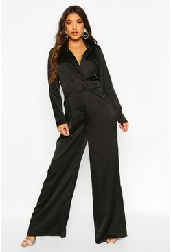 Womens Black Satin Tailored Jumpsuit