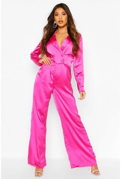 Dam Fuchsia Satin Tailored Jumpsuit