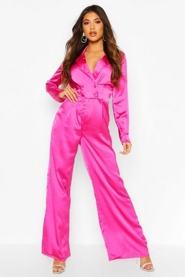 Womens Fuchsia Satin Tailored Jumpsuit