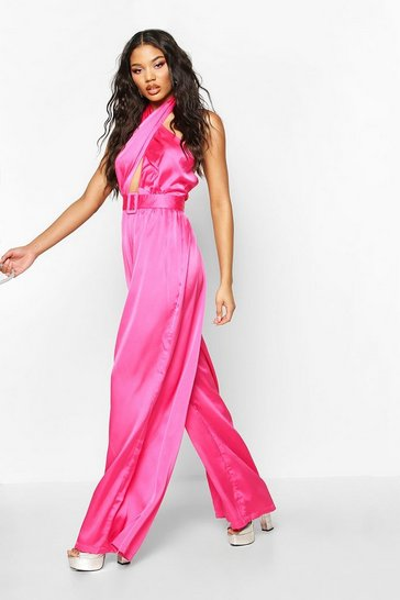 Womens Hot pink Halterneck Wide Leg Culotte Jumpsuit