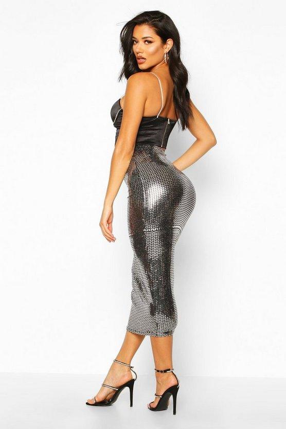 Metallic Sparkle Midaxi Skirt