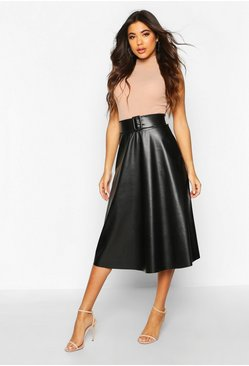 Womens Black Leather Look Buckle Midi Skater Skirt