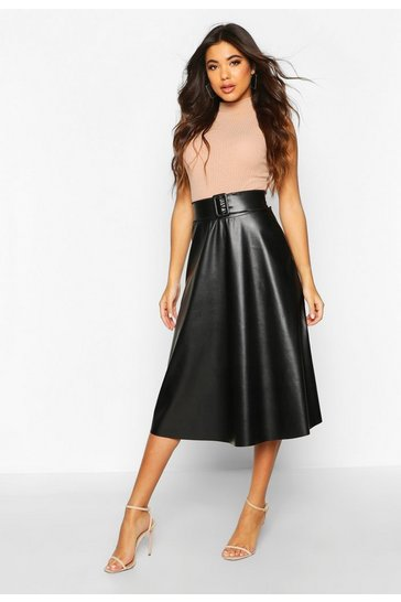 Black Leather Look Buckle Midi Skater Skirt