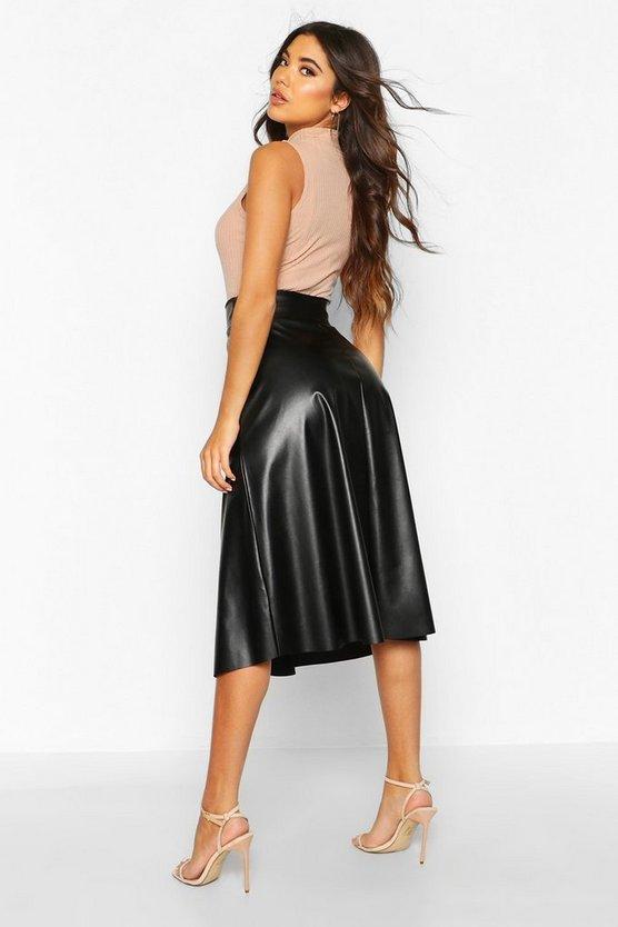 Leather Look Buckle Midi Skater Skirt