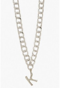 Womens Silver Chain Detail Initial Necklace (K)
